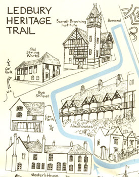 A detail from the Ledbury Heritage Trail map